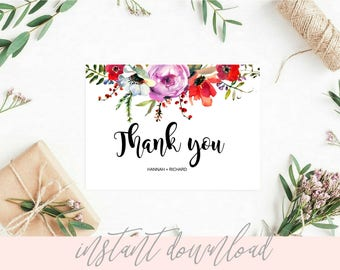 editable thank you cards editable thank you card template etsy