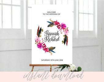 Boho Wedding welcome sign, Wedding welcome sign templates, Printable Boho Welcome Wedding Sign, wedding welcome sign for reception, DOWNLOAD
