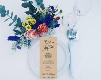 Printable Menu Card, DIY Printable Menu, Rustic Wedding Menu, Wedding Menu Printable Template, Rustic Menu Card Template, Rustic Dinner Menu