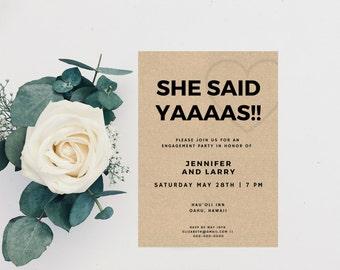 Engagement Party Invitation, Engagement Invitation, Engagement Announcement, Printable Engagement Invitation, Engagement Template, Minimal