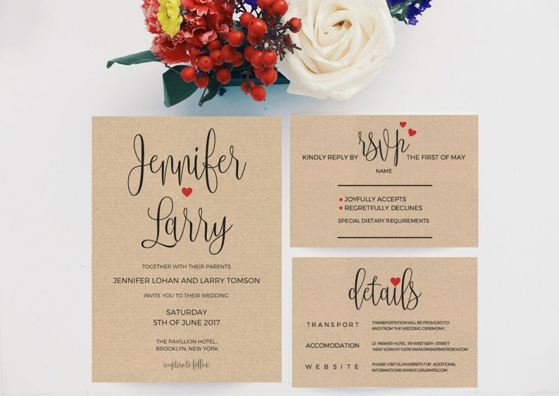 Wedding Invitation Packages.Wedding Invitation Template Download Wedding Invitations Packages Printable Wedding Invitation Template Kraft Wedding Invitation Pdf