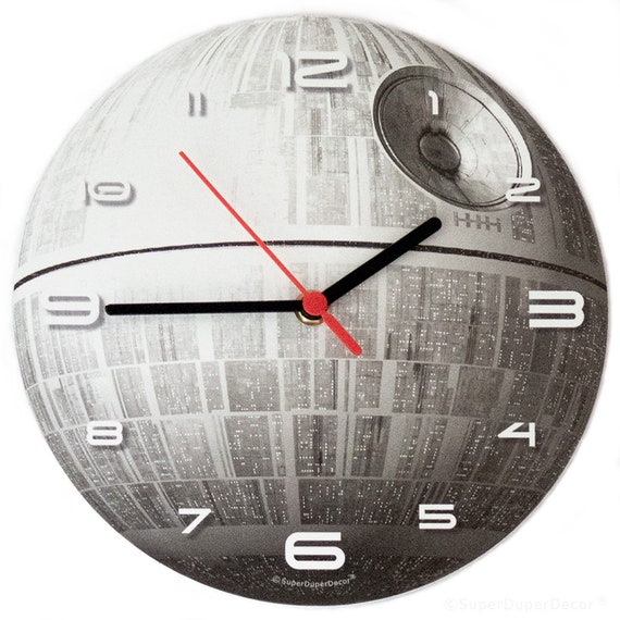 DEATH STAR - Glow-in-the-Dark - Wall Clock - boys childrens bedroom darth  vader rogue one empire jedi the force awakens star wars gift