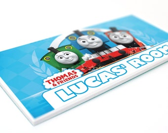 THOMAS the TANK ENGINE - Bedroom Door Plaque - boys kids personalised name sign
