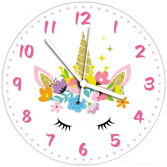 UNICORN FLORAL wall CLOCK - learning teaching time girls childrens cute  bedroom gift