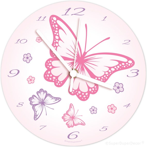 CHASING BUTTERFLIES childrens bedroom wall CLOCK - (matches our girls room  decor)