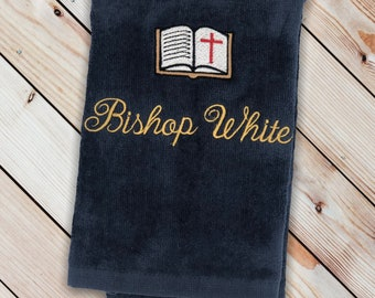 Personalized Embroidered Pastors Hand Towels with Bible make an excellent gift for Pastors Appreciation Month in October Pastor Anniversary