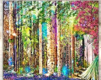 Colorful Trees Giclee Print,Woodland Art,Forest Art Print,Boho Fairy Wall Art,Fantasy Trees,Metal Print,Girls Room Decor,Fairytale Art Print