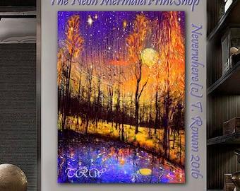 Wildfire Landscape,Giclee Print Abstract Trees,Fantasy Art Forest,Woodland Art,Colorado Landscape,Fairytale Art,Metal Print,Farmhouse Decor