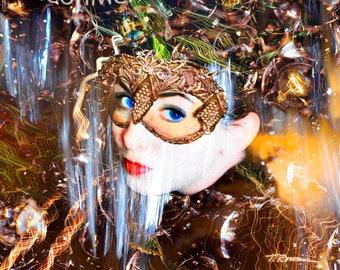 Woman Wearing Mask,Gold Mask Art Print,Girl in Mask,Masked Ball,Girl in Costume,Fantasy Art Giclee Print,Yellow Girls Room Art,Metal Print