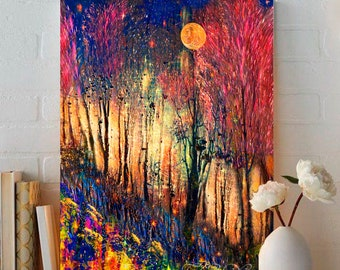 Fairytale Art Print,Giclee Print,Colorful Trees,Fantasy Art Forest,Woodland Art,Colorful Landscape,Fairytale Art,Metal Print,Country Cottage