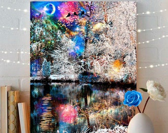 Colorful Trees Fairytale Art Print,Landscape Art Print,Boho Art,Fairytale Art,Giclée Print,Fantasy Art Forest,Metal Print,Boho Wall Decor
