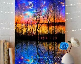 Colorado Abstract Landscape,Giclee Prints,Fairytale Art Print,Celestial Fantasy Art,Fairytale Landscape,Moon Art,Tree Art,Large Metal Prints