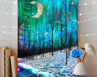Fairytale Art Print,Abstract Tree Print,Moon and Stars Art Print of Night Sky,Fairytale Landscape Winter Landscape Aqua Northern Lights Art