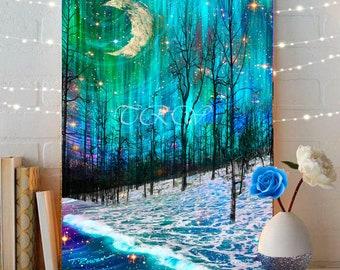 Fairytale Art Print,Fantasy Landscape,Giclee Print,Abstract Tree Print,Moon Art,Snow Art,Fairytale Landscape,Winter Art,Aqua Metal Print