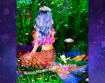 Mermaid Art,Purple Mermaid Girl,Mermaid Print,Art Print,Mermaid Poster,Mermaid Decor,Fairytale Art,Mermaid Wall Art,Girls Room Art Print,