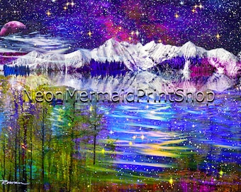 Colorful Mountain Landscape,Giclee Print,Fantasy Art,Colorado Art,Reflection,Purple Celestial Art,Fairytale Art Print,Large Metal Print