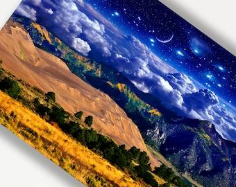 Mountain Landscape,Giclee Print,Fantasy Art,Colorado Landscape,Sand Dunes,Celestial Art,Fairytale Art Print Fairytale Art Large Metal Print