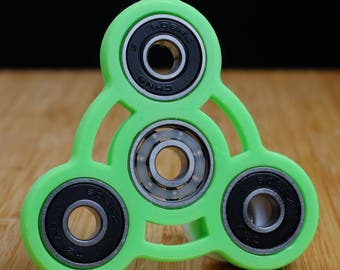 Neon Green And Black Tri Spinner Fidget EDC Hand Toy