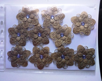 set of 10 flowers perforated paper for scrapbooking or cardmaking