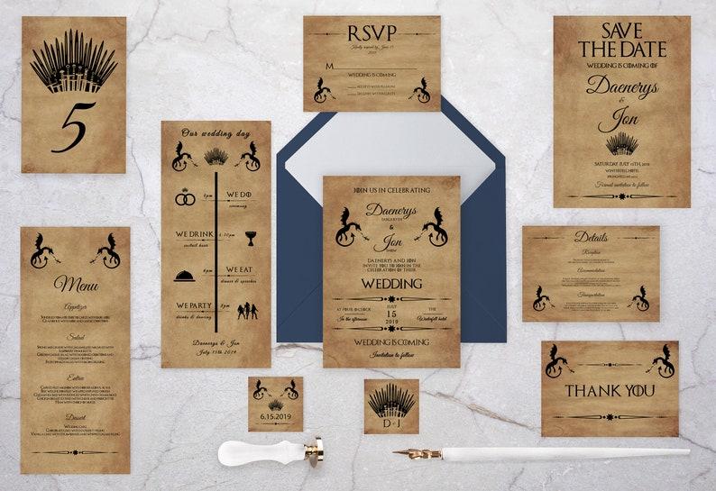 Parchment Wedding Invitation Suite  Fantasy Wedding Set with image 0