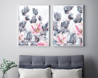 Exceptionnel SET Of 2 Floral Art Prints With Grey Leaves And Pink Flowers, Large Bedroom  Wall Art, Watercolour Wall Art Prints, Large Wall Art Prints
