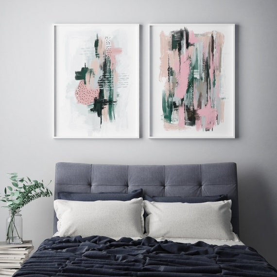 SET of 2 Large Modern bedroom wall art prints in green and pink