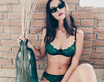370ddd8332 emerald green lingerie set