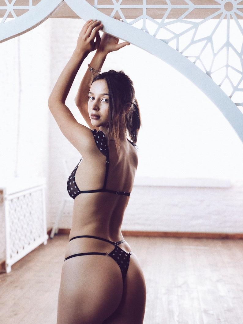 5448cb6818 Cute mesh lingerie set polka dot soft lingerie triangle bra