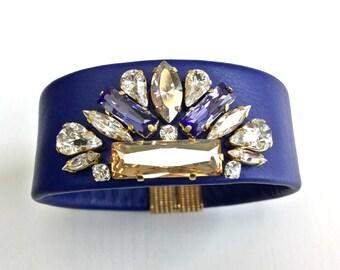 Swarovski Cuff, Leather Cuff, Swarovski Leather Cuff Bracelet, Blue Leather Cuff, Crystal Cuff, Luxurious Crystal Bracelet, Violet Bracelet