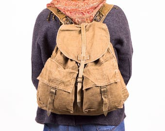 VINTAGE CANVAS BACKPACK, Vintage Military Backpack, Old Army Canvas Rucksack, Khaki green Backpack, Mountaineering, Festival, School Bag