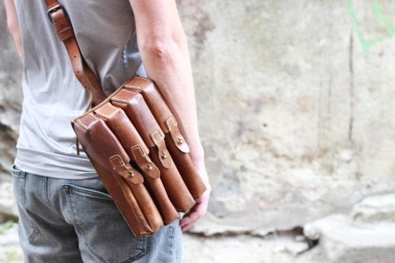 Leather Shoulder Bag Leather Shoulder Bag Men Brown Bag Etsy