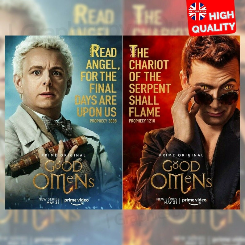 Good Omens David Tennant Michael Sheen TV Series 2 Silk Canvas Poster 24x36/'/'