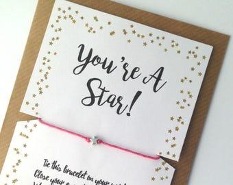 Wish Bracelet, Graduation Gift, Youre A Star Bracelet, Wish Upon A Star, Wish Bracelet Friends, Well Done, Friendship Bracelet, Travel Gifts