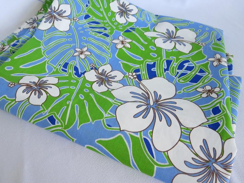 Hawaiian Fabric Fabric Tropical Hibiscus Blue Hawaii Etsy