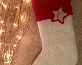 Red Cuffed Christmas Stocking, including tag. Padded and Lined for Children or Adults. (Other optional cuffs see list)