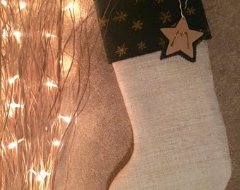 Green/Gold Star Cuffed Christmas Stocking, including tag. Padded and Lined for Children or Adults. (Other optional cuffs, see list