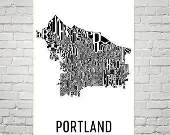 Portland Typography Neighborhood Map Art City Print, Portland Wall Art, Portland Art Poster, Gifts, Map of Portland, Portland OR, Oregon Art