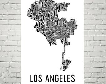 Los Angeles Typography Neighborhood Map Art City Print, Los Angeles Wall Art, LA Poster, Map of Los Angeles, Los Angeles CA, LA California