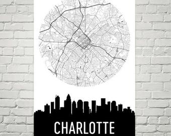 Charlotte Skyline, Charlotte Map, Charlotte Skyline Art, Charlotte Canvas Art, Charlotte City Map, Charlotte NC, North Carolina, Poster