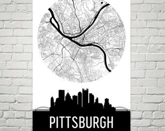 Pittsburgh Skyline Canvas Art, Pittsburgh Pennsylvania Decor Gifts