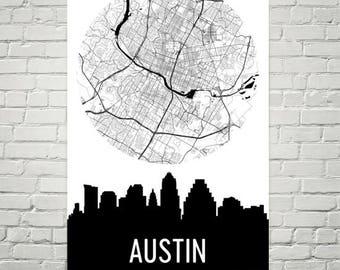 Austin Skyline, Austin Map, Austin Skyline Art, Austin Canvas Art, Austin City Map, Austin TX, Austin Texas, Austin Print, Austin Poster