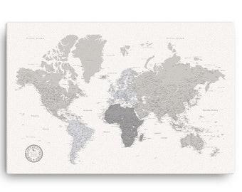Farmhouse Push Pin World Map, Personalized World Map Gift, World Map On Canvas, Rustic Push Pin Travel Map, Modern Farmhouse World Map, Pins