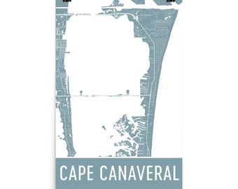 Items similar to Cocoa Beach map art print, Cape Canaveral ... on map showing port canaveral florida, map showing cape canaveral, hotel cape canaveral fl, map florida fl, map sarasota fl, weather cape canaveral fl, map of cape canaveral area,
