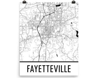 Fayetteville Ar Map Fayetteville ar map | Etsy