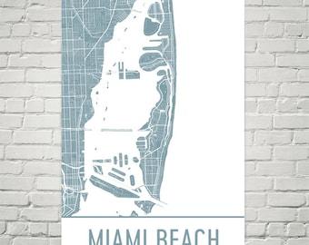 Florida Beach Map.Miami Beach Etsy