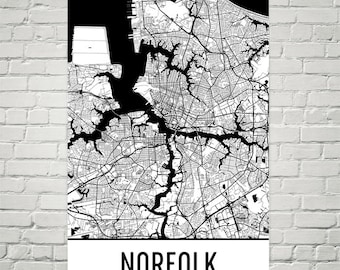 Norfolk map print Norfolk print Norfolk city map Virginia | Etsy