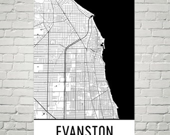 Evanston Subway Map.Evanston Wall Art Etsy