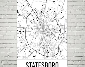 Statesboro ga map | Etsy on terre haute indiana on map, fort stewart georgia map, beaufort south carolina on map, statesboro ga map,