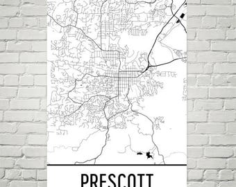 Map Of Arizona Prescott.Prescott Az Etsy