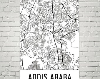Addis Ababa Map Art Print / Ethiopia Africa Line Art Poster / | Etsy
